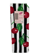 Nwt Betsey Johnson Red Cherry Black White Striped Beach Towel 2020 Cherries New