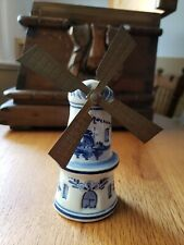 "Porcelain 6"" Rockmanje Windmill with Metal Blades. Delft?"