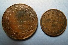 1920 LARGE and SMALL TYPES, KING GEORGE V ONE CENT COINS, Very Fine Circulated