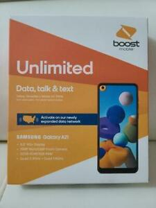 SAMSUNG A21-BLACK-32GB- Smartphone Boost Mobile - Free 1 Month &2FREE GIFT