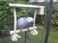 SIDE FITTING-Swing Perch for Parrots,Sisal Rope & Wood
