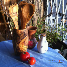 Köcher mit 5 Utensilien Becher  Olivenholz Holz Küchenhelfer Kochlöffel Halter
