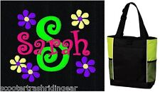 PERSONALIZED Daisy Tote Bag diaper baby beach book pink black girl New
