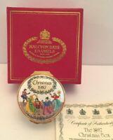 Halcyon Days 1987 DECK THE HALLS Christmas Enamel box w/ certificate & box