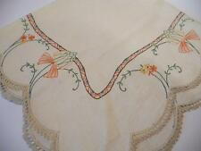 "Lovely Vintage Crocheted Edged, Embroidered Irish Linen Tablecloth  32"" x 34"""
