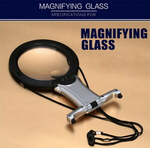 2.25X 5X Hands Free Magnifier Hanging Desktop Magnifying Glass with Neck Strap