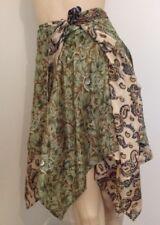 Wrap Skirt | Handkerchief/Diamond Hem | Silk Blend | Free Post