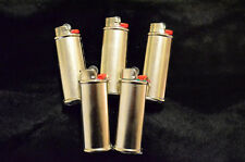 5 pack (Five) Blank Bic Lighter Case Cover Holder Metal Silver Color