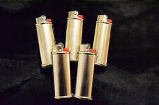 5 pack (Five) Blank Bic Lighter Case Cover Holder Metal Silver Color