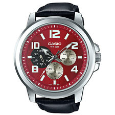 Casio MTP-X300L-4A Men's Watch Genuine Leather Band 50M Date Display New RED