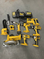 Huge Lot of Dewalt Power Hand Tools Drills, Saw, Light, Etc 8 Tools, 3 Chargers