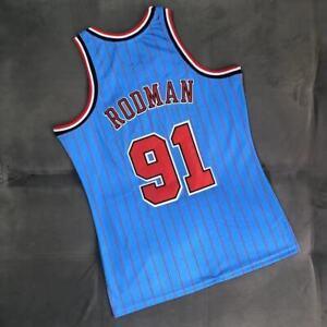 NWT Men's Dennis Rodman Chicago Bulls Throwback Swingman Jersey Blue Size S-XXL