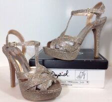 NEW QUPID High Heels Womens Shoes Size 9 Gold Shimmer Strap Open Toe Platform