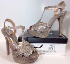 NEW QUPID High Heels Womens Shoes Size 9 Gold Glitter Strap Open Toe Platform