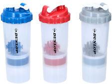 Shaker 550ml + 170ml Dunlop Sportflasche für Protein Pulver Eiweiß Sport Fitness