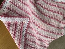 Beautiful Cuddly soft Hand knitted baby blanket. Pink and white. 73 inch square.