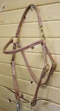 New Amish Made Leather Mule Sized Headstall w/ Snap Crown. Quality Horse Tack