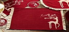 RED REINDEER RECTANGLE PLACEMAT (two) : TABLE LINEN CHRISTMAS DEER ANTLER WHIMSY
