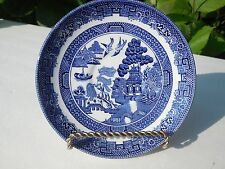 "4 BEAUTIFUL BLUE WILLOW JOHNSON BROTHERS ENGLAND  5 3/4""  SAUCERS"