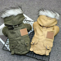 Small Dog Pet Fur Collar Winter Coat Jacket Waterproof Chihuahua Puppy Clothes