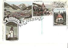 """AK-Steiermark- """"GRUSS aus EISENERZ"""" Barbara Kapelle,Schichtturm...um1898"""