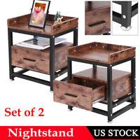 Vintage Wood Sofa End Side Bedside Table Nightstand W/Drawer Storage Shelf 2PCS