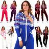New Womens Ladies Aztec Print Hooded Zip Up Onsie All In One Jumpsuit Playsuit