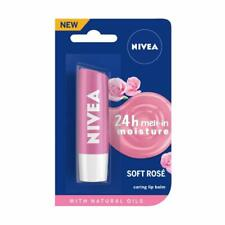2 x Nivea Soft Rose Caring Lip Balm Long Lasting Moisture Natural Oils Ladies