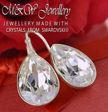 925 SILVER EARRINGS MADE WITH SWAROVSKI CRYSTALS PEAR FANCY STONE 14MM CRYSTAL