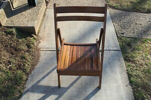 Vintage Mid Century Modern Folding Wood Slat Chair #3 Made In Romania