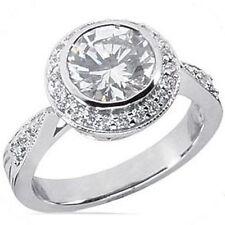 1.85 carat Round cut Diamond Halo Engagement Ring, 14K White Gold 1.55 ct center