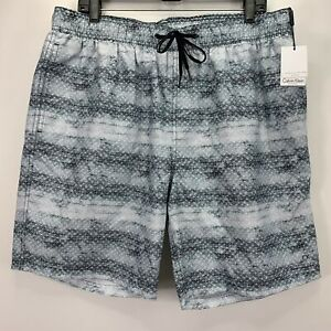 "Calvin Klein Mens Printed 7"" Swim Trunks White Gray XL"