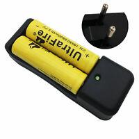2X  Battery 18650 9800mAh 3.7V Li-ion Rechargeable Flat Top&4.2V Charger EU Plug