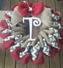Red, Chevron, Natural Burlap Wreath -Personalized