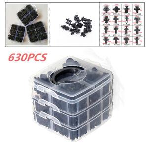 630PCS Car Body Plastic Push Pin Rivet Fasteners Bumper Moulding Clip 16 Kinds