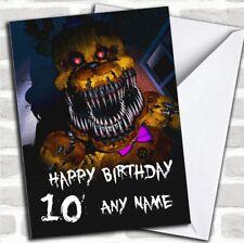 Fnaf Five Nights At Freddy's Nightmare Fredbear Birthday Personalised Card