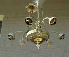 Vintage French Brass angel putti figurine  metal Chandelier lamp 1960