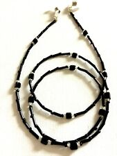 Black and Silver Beaded Eyeglass Glasses Spectacles Chain Holder Cord