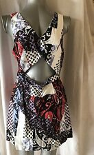 TOPSHOP SIZE 14, EURO 42, MULTI COLOURED KEYHOLE SHORT SLEEVELES DRESS,PRE-LOVED