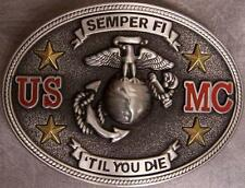Military Belt Buckle Pewter U S Marine Corps Semper Fi 'Til You Die NEW