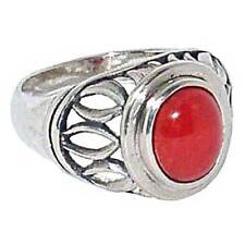 Ring _ Sz-8_925 Sterling Silver Contemporary Open Cut-Out Crown_Oval Red Coral