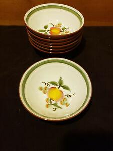Set of 4 Vintage Stangl Pottery Apple Delight Pattern 6 Dessert Salad or Bread Plates