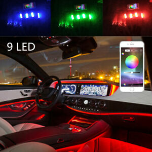 9in1 RGB LED Car Interior Neon Dash Footwell Light Blueteeth App +6M Fiber Strip
