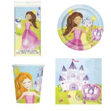 Pretty Magical Princess Party Set for 8 - Tablecloth Plates Napkins & Cups - New