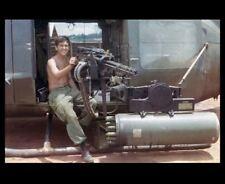 Vietnam War Us Army Door Gunner Photo Huey Hog Uh-1C Helicopter Machine Gun