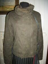 Veste blouson coton kaki rayé BENCH M 38/40 zip décalé granc col brodé
