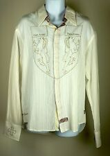 Men's English Laundry Creme Crusader Cross Embroidery Medieval Crest LS Shirt XL