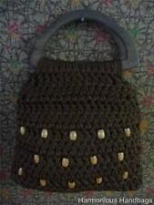 Vintage Hand Made Dark BROWN Knitted TOTE Satchel Handbag Purse Retro Chic! BoHo