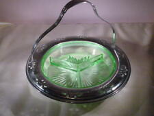 GREEN DEPRESSION GLASS DIVIDED DISH CANDY FABERWARE CHROMIUM CRADLE 1920 GLOWS