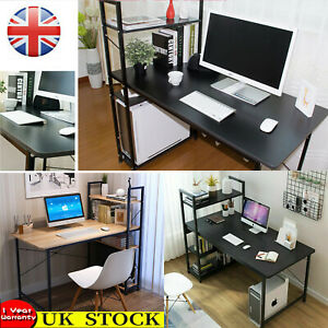 Corner Computer Desk PC Laptop Table Study Workstation & Bookcase Home Office UK